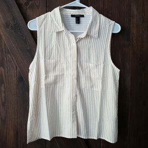 NWT Forever 21 Striped Woven Button Up Shirt